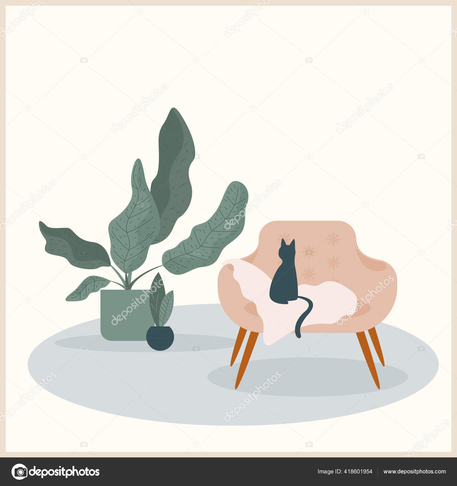 Abstract Handmade Cat Plant Illustration Desenho Mao Imagem Planta Para Vetores De Stock C Vanillamilk 418601954