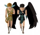 Photo hypnos and thanatos are twin greeks, mythology gods.