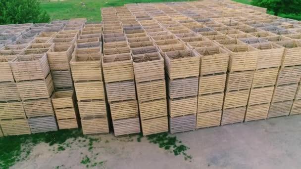 skládané prázdné dřevěné krabice ve skladech, krabice jsou určeny pro sklizeň ovoce a zeleniny