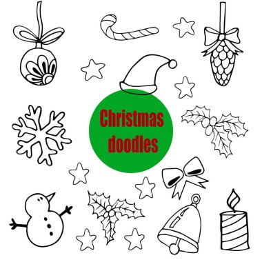 A set of doodles, drawings on a Christmas theme. Hand-drawn Christmas card. The outline drawing is isolated on a white background. Christmas decorations