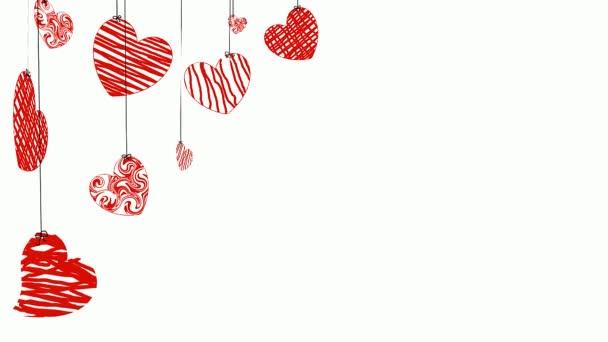 krásná animace s červenými srdci na světlém pozadí