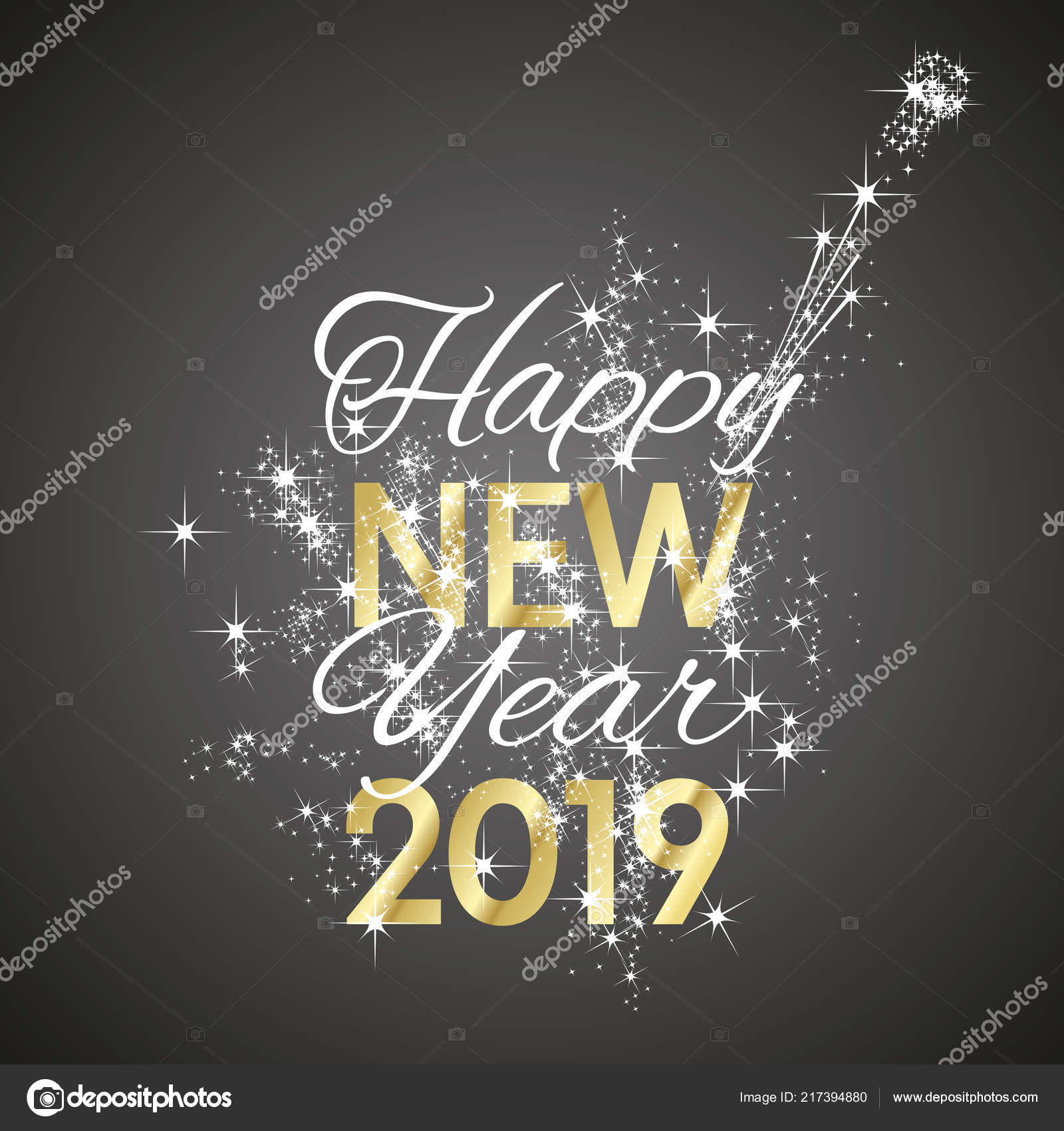 2019 happy new year firework champagne black white gold background vector vector by simbos