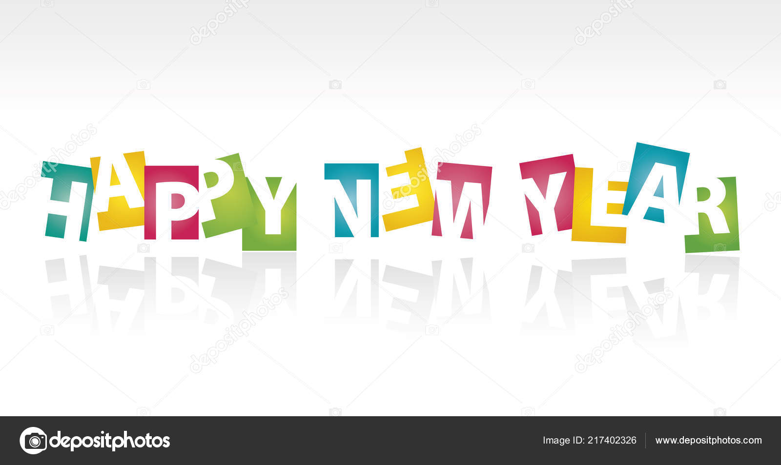 Happy new year 2019 color negative space letters shadows - New year 2019 color ...