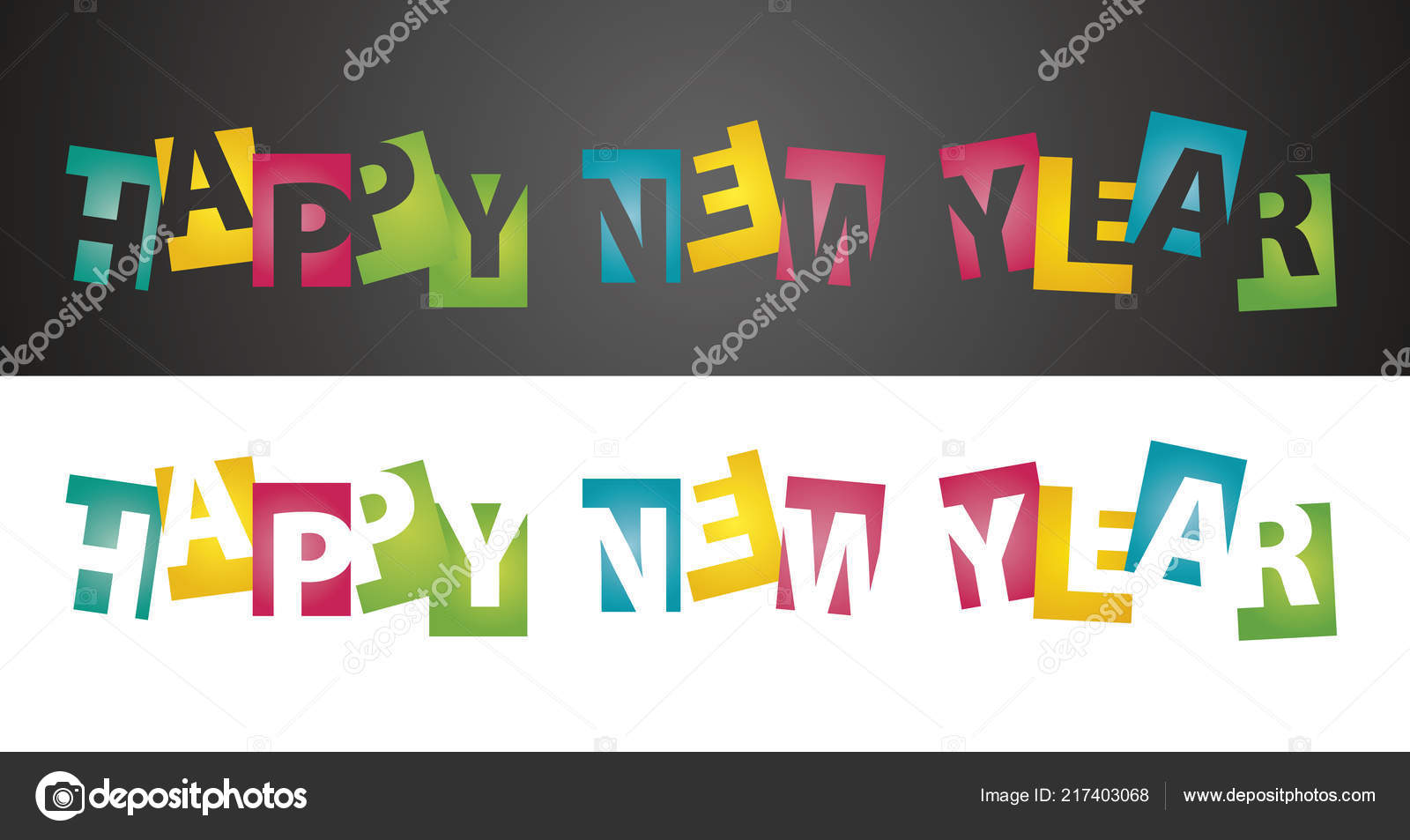 happy new year 2019 negative space color letters black white landscape background logo icon banner greeting card vector by simbos