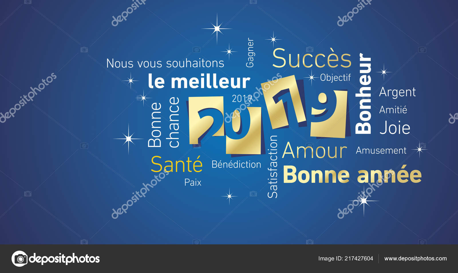 happy new year 2019 negative space french word cloud text gold white blue vector greeting card vector by simbos