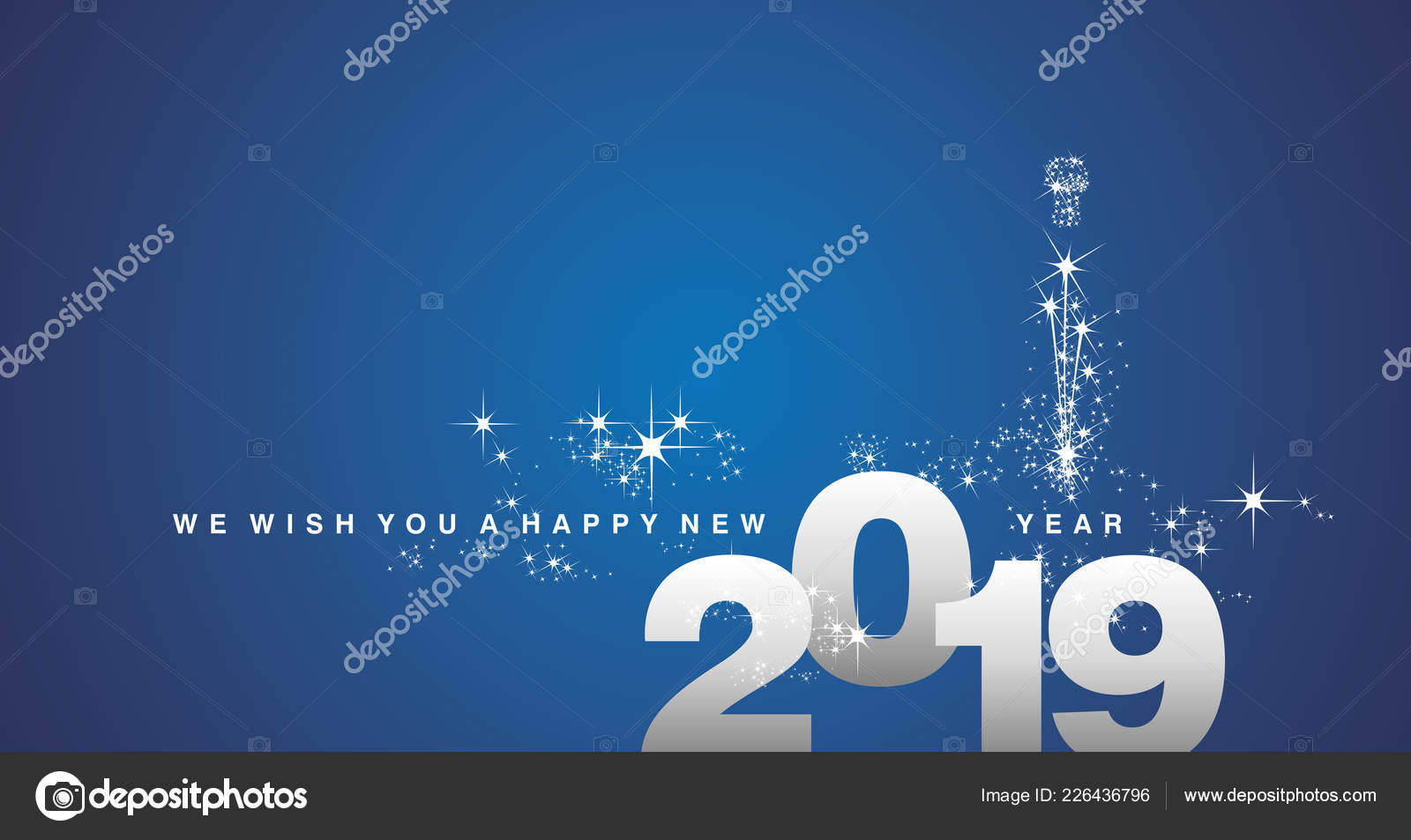 wish you happy new year 2019 silver blue greeting card stock vector