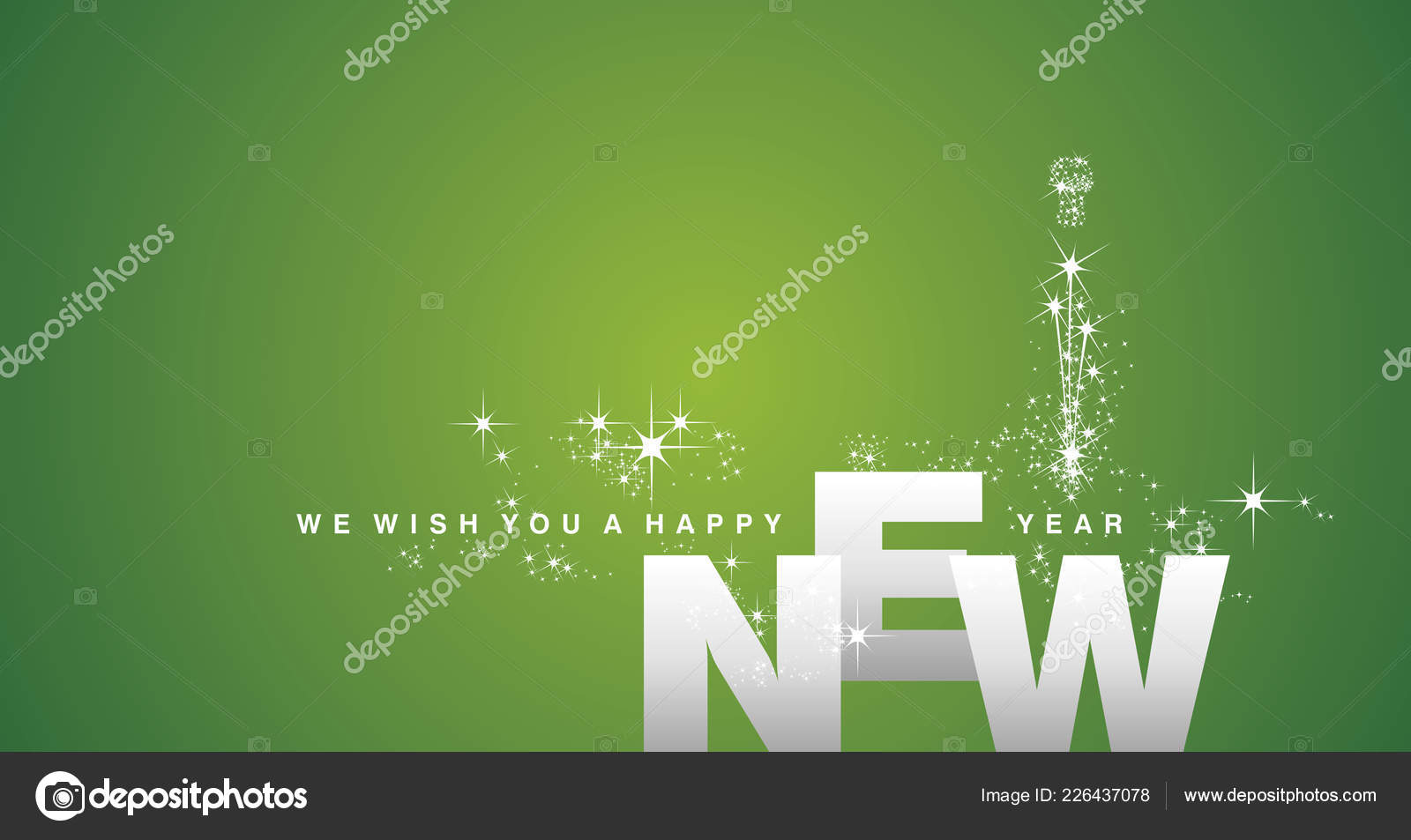wish you happy new year 2019 silver green background stock vector
