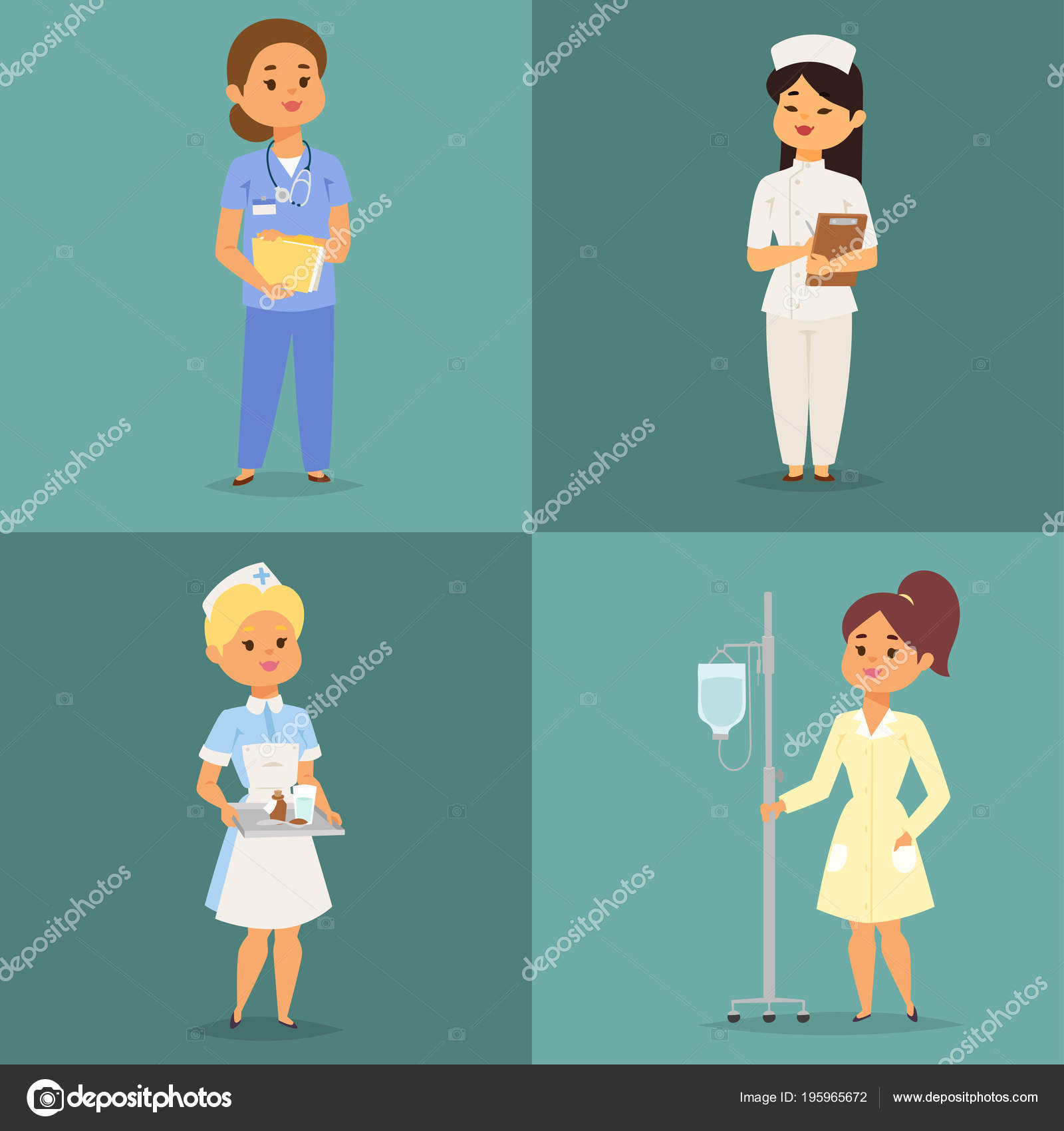 Doctor Nurse Character Vector Medical Woman Staff Flat Design