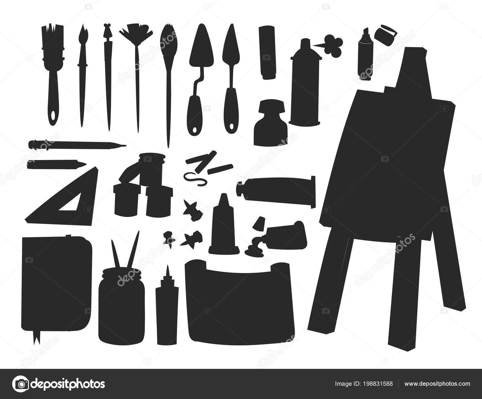 Painting art tools palette vector silhouette illustration