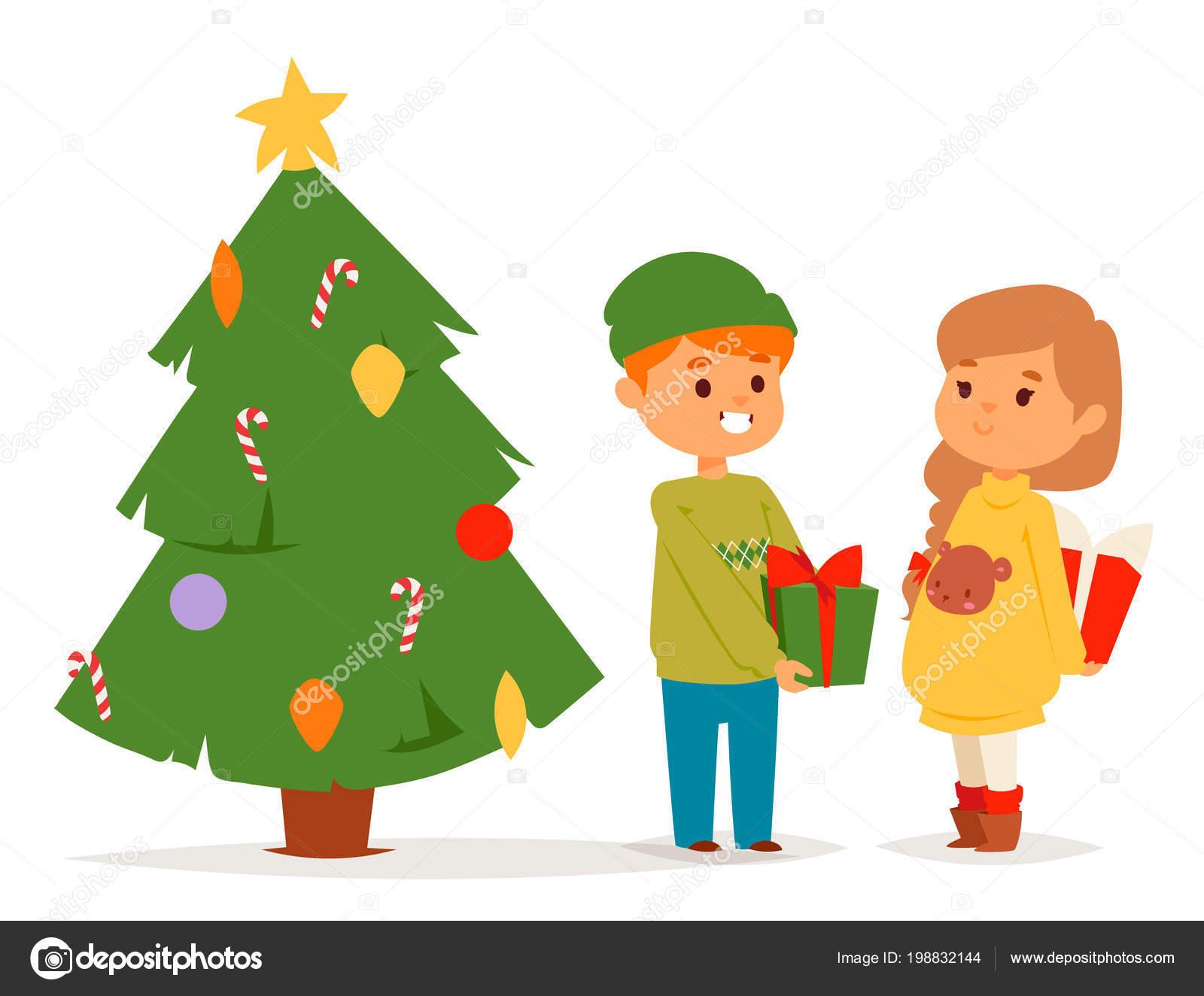 Navidad Ninos Vector Caracter Jugando Juegos De Invierno A Los Ninos