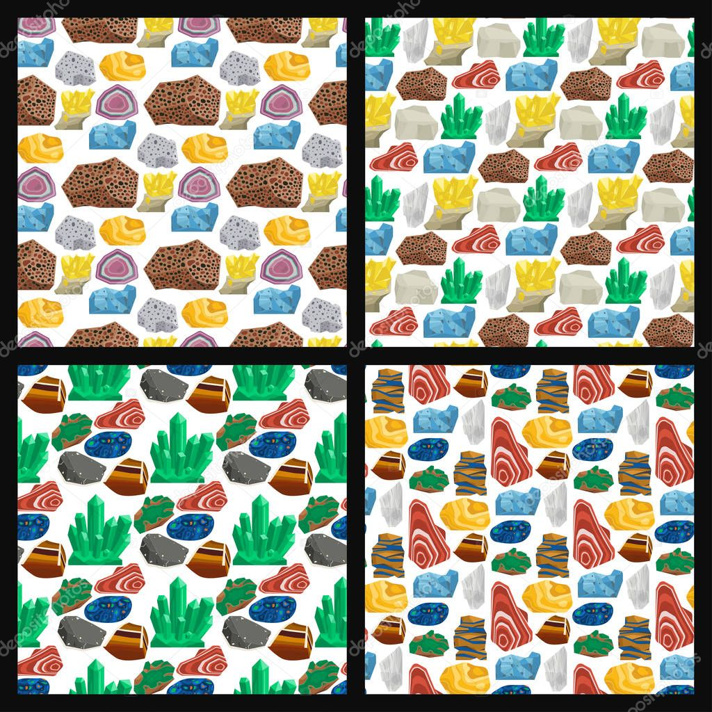 Semi precious gemstones vector stones and mineral stone seamless pattern background dice colorful shiny crystalline mineral jewelry illustration.