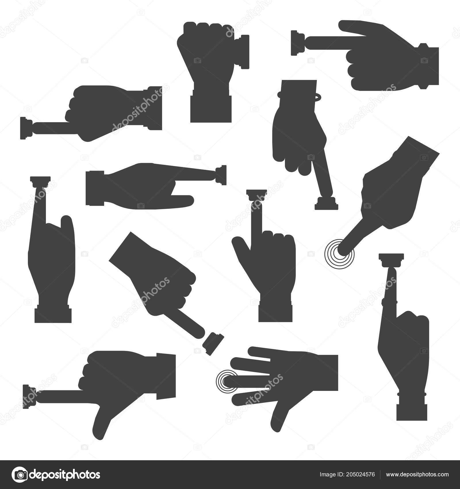 Hand Druk Op Knop Vectorbestrijding Silhouet Vinger