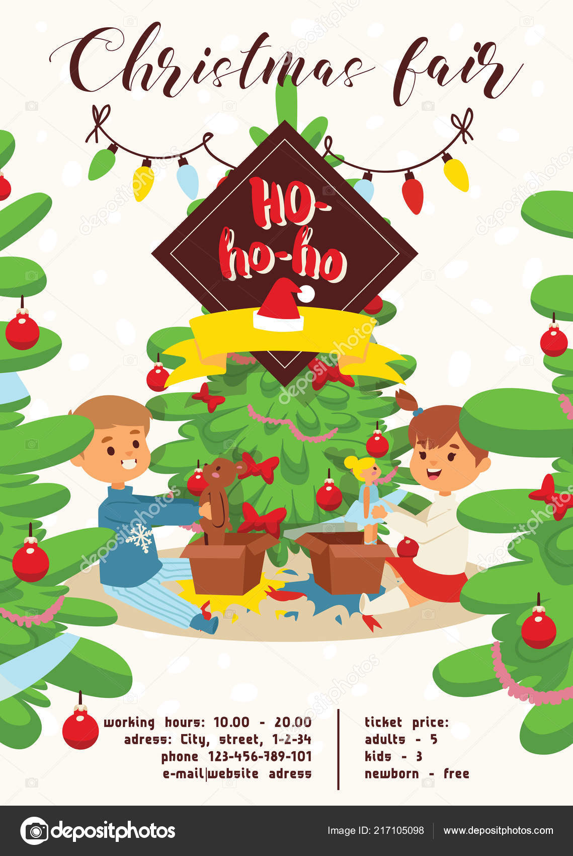 christmas 2019 happy new year greeting card vector boy s brothers find gifts near tree friends background banner holidays winter xmas congratulation new