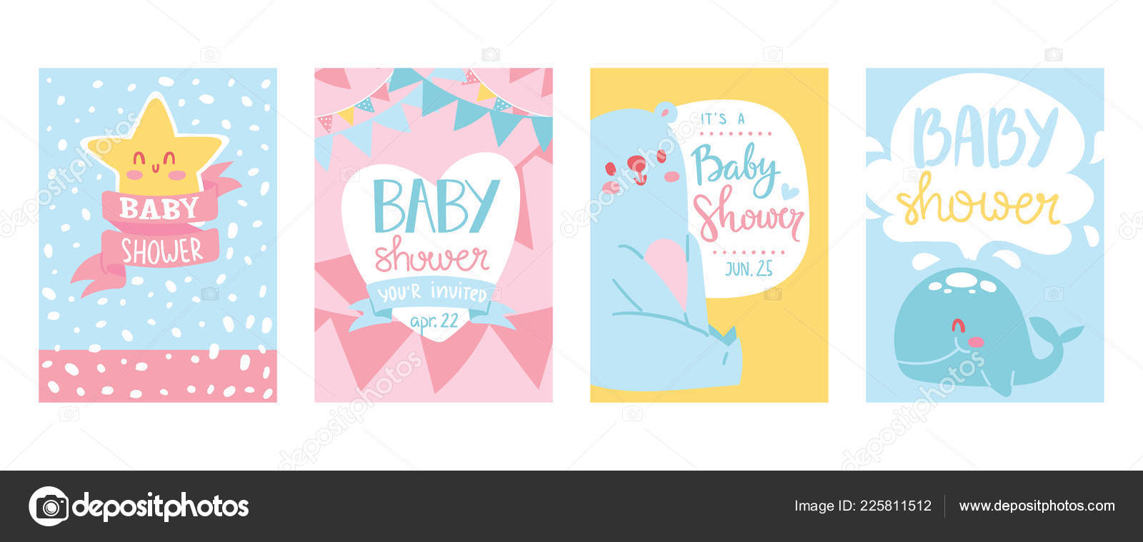 Baby Shower Cards Vector Illustration Set Cute Invitation Cards For