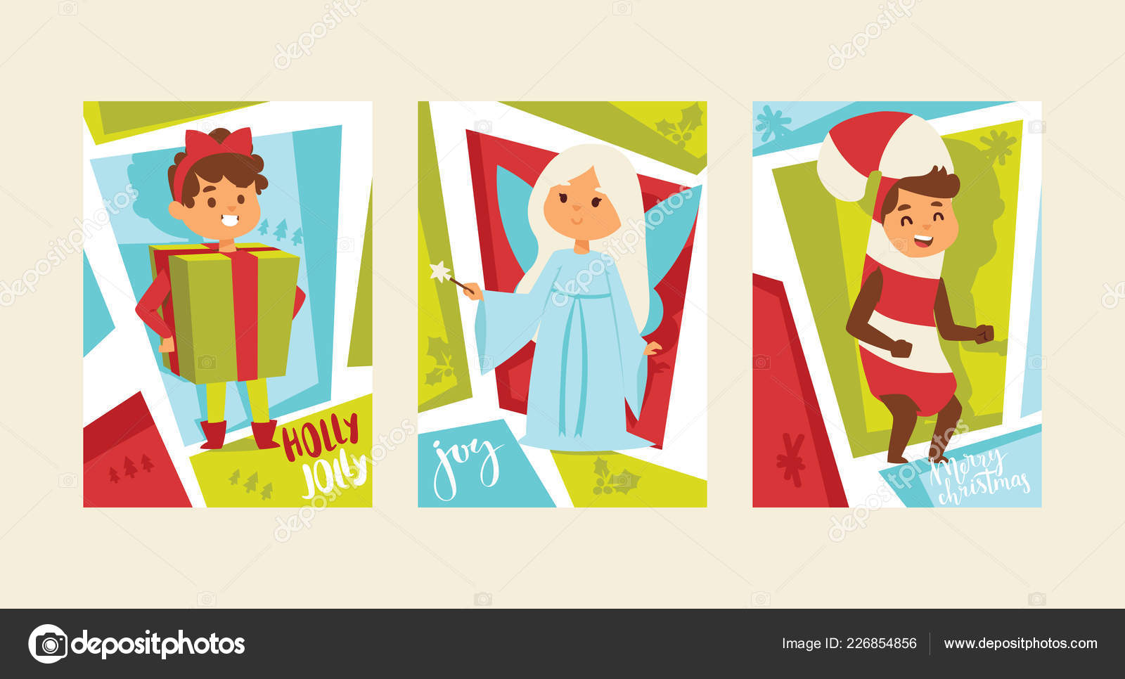 christmas 2019 happy new year greeting card happy kids children costume vector background banner holidays winter
