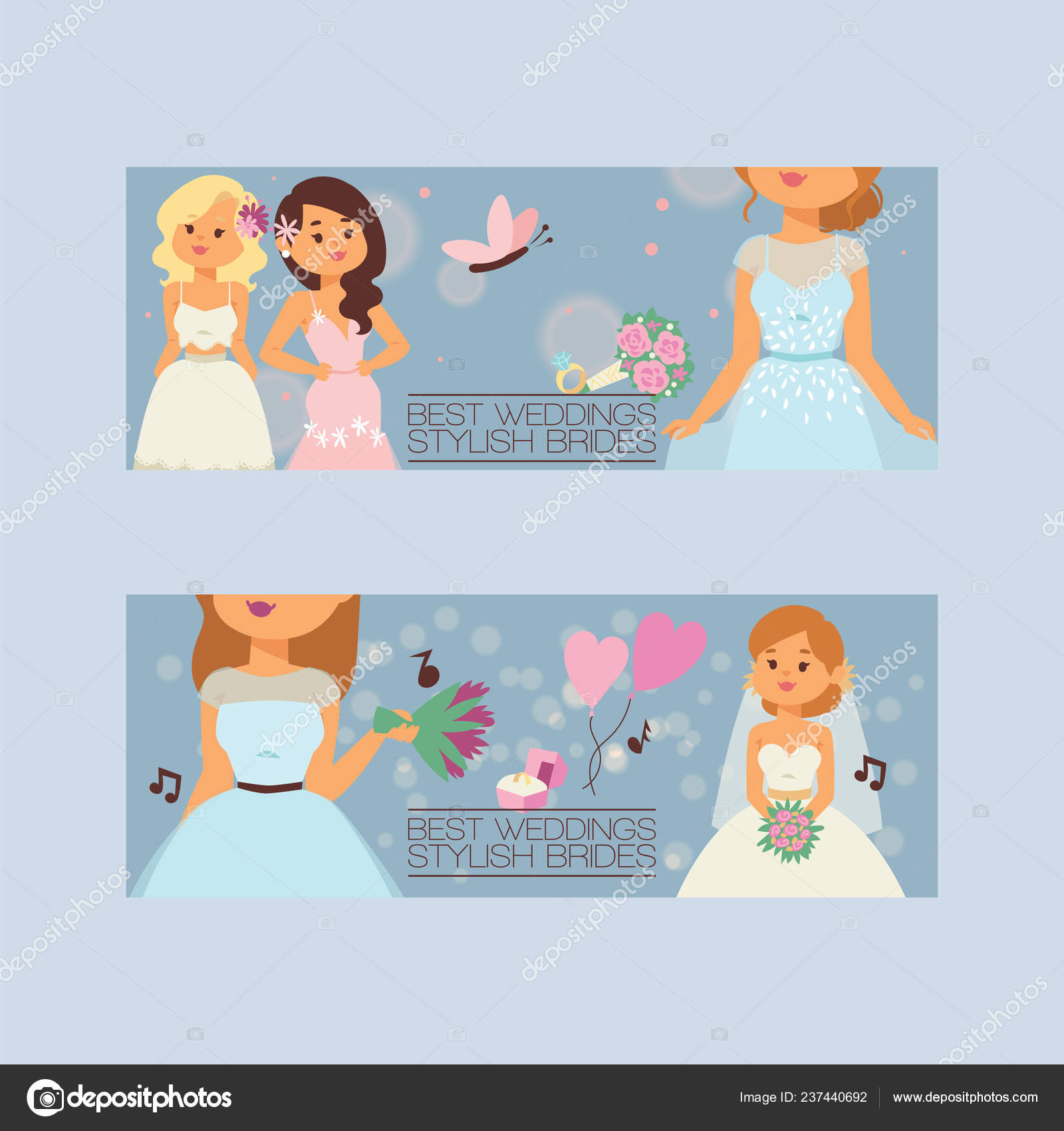 Bride Vector Bridesmaid Woman Character In Wedding Dresses Wearing White Dressing Accessories And Bridal Celebration Illustration Backdrop Set Of Marriageable Girl In Marriage Dress Background Banner Stock Vector C Adekvat 237440692
