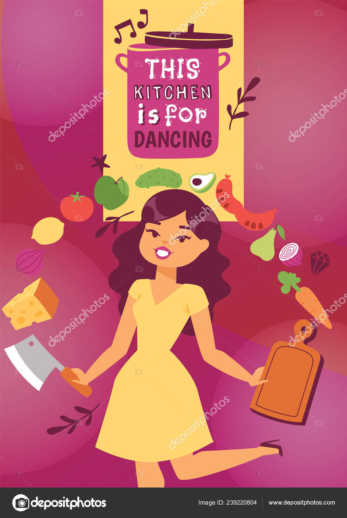 Cute Woman Moving With Kitchen Utensils Vector Illustration