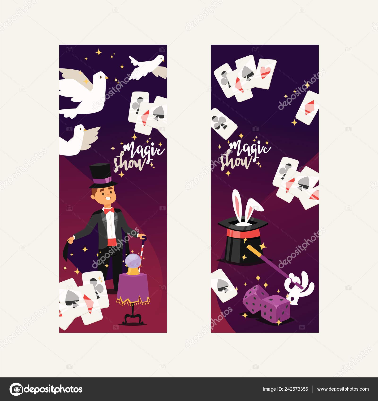 Ilusionista de vector mago Mostrar ilusión hombre magia o ilusionismo mágico  en telón de fondo y de la historieta carácter persona sombrero muestran ... cd90e54d008