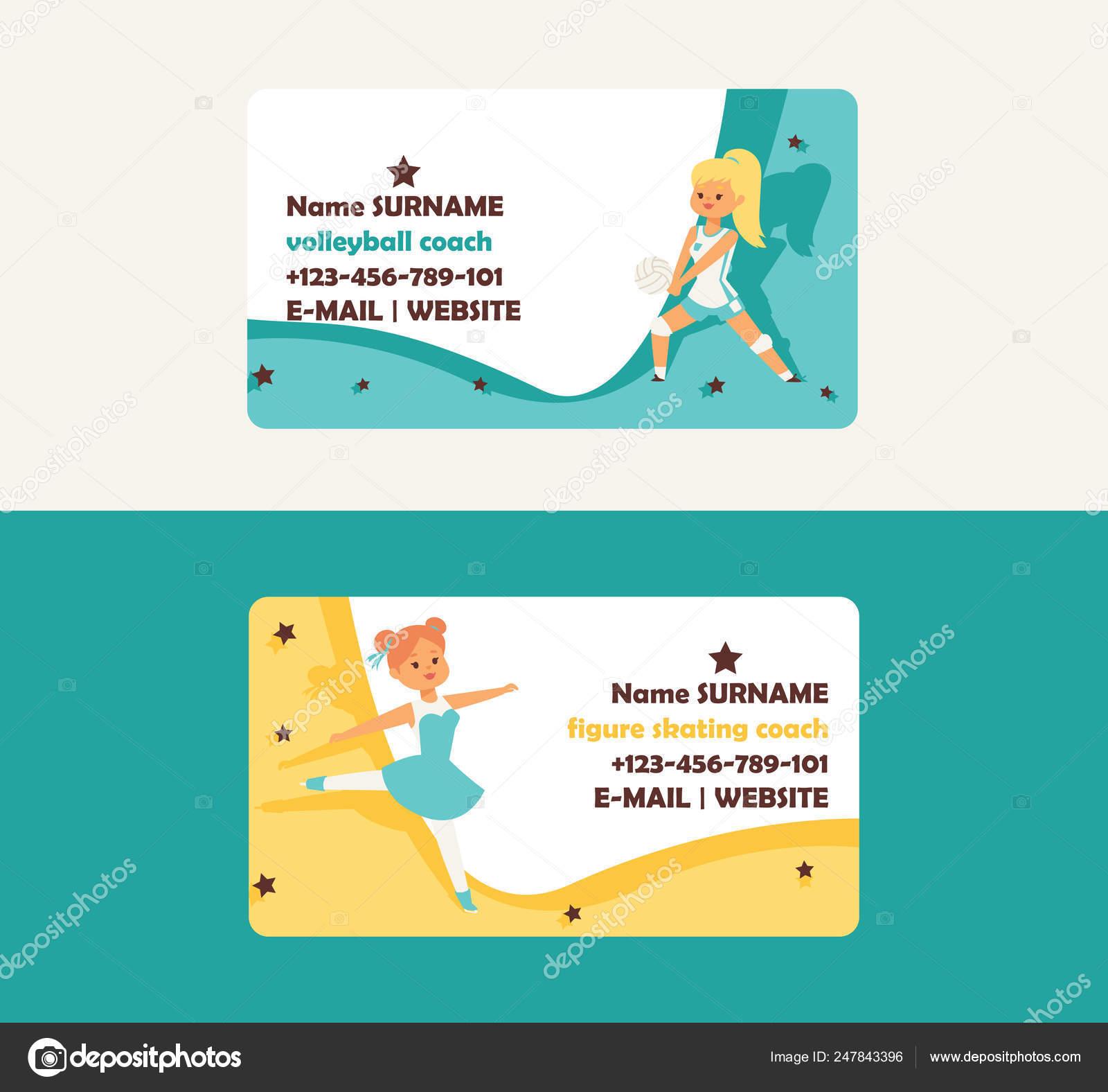 Kind Im Sport Vektor Visitenkarte Mädchen Charakter Spielen