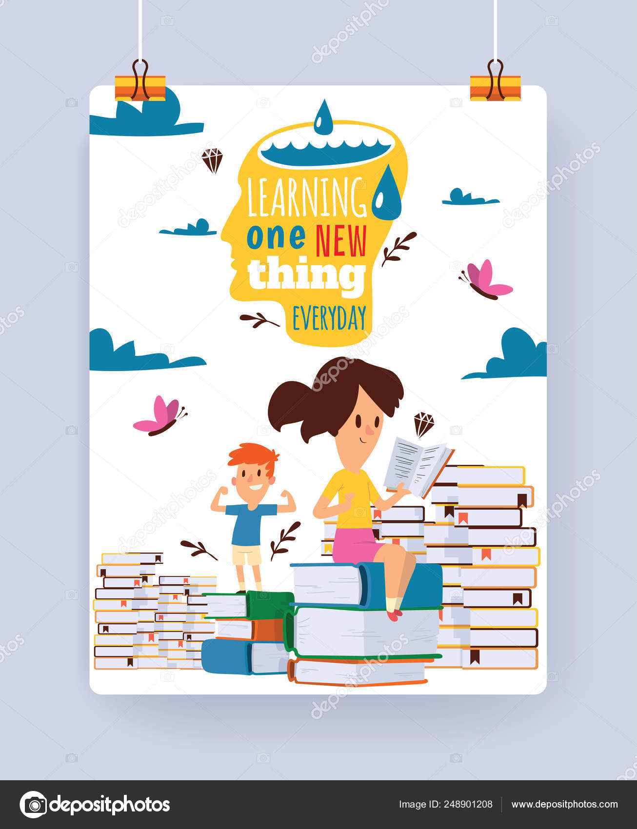 Kids Reading Books Vector Child Character Boy Girl Read Textbook With Bookmark Illustration Backdrop Of Educated Children Sitting In Library Studying Learning Background Wallpaper Stock Vector C Adekvat 248901208