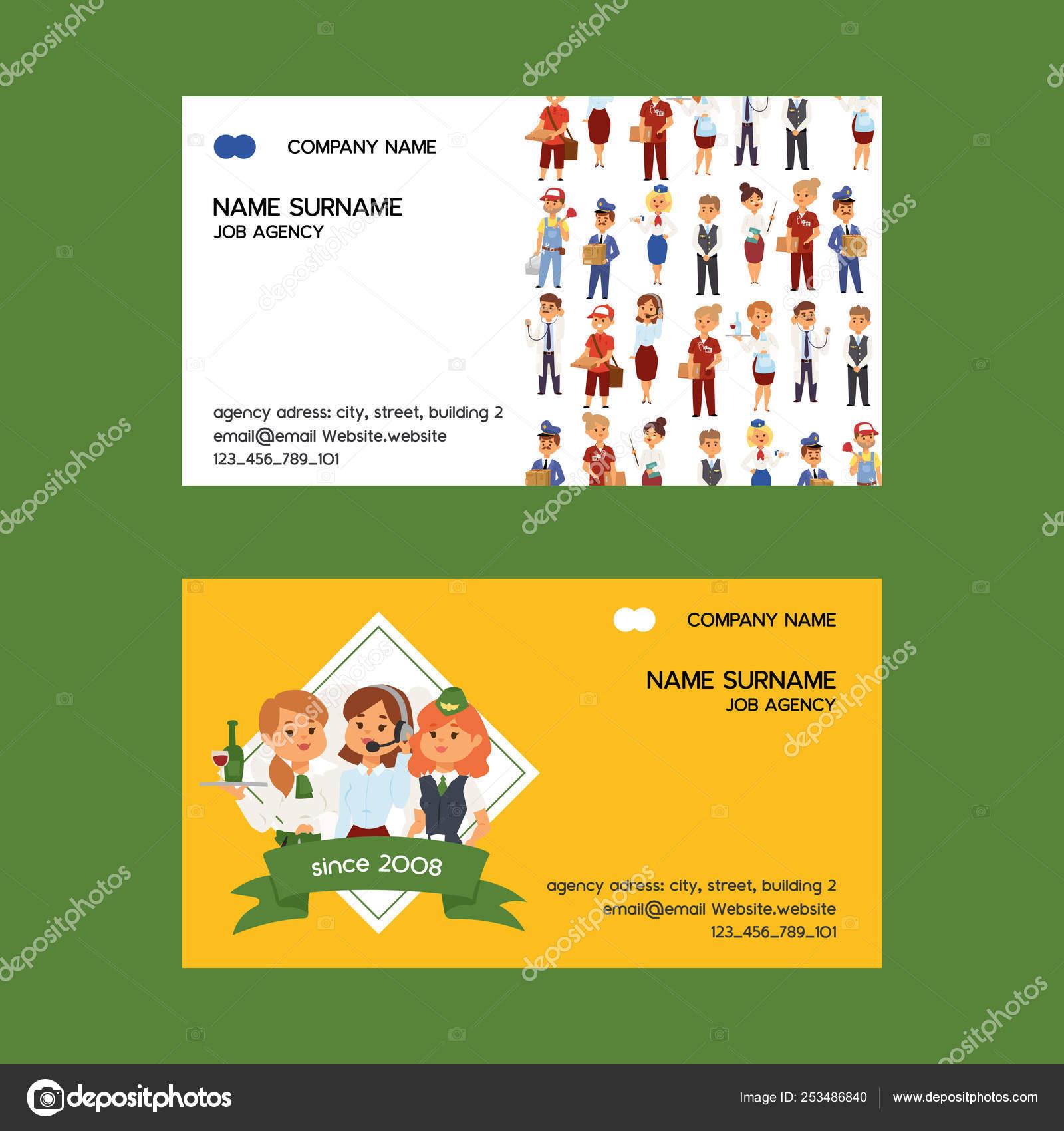 Job Agency Vector Business Card Woman Man Character Work