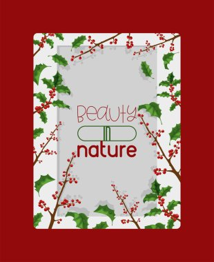 Holly berries vector Christmas traditional decoration frame on Xmas winter holiday backdrop illustration of framed decorative red berry green leaf plant on December background