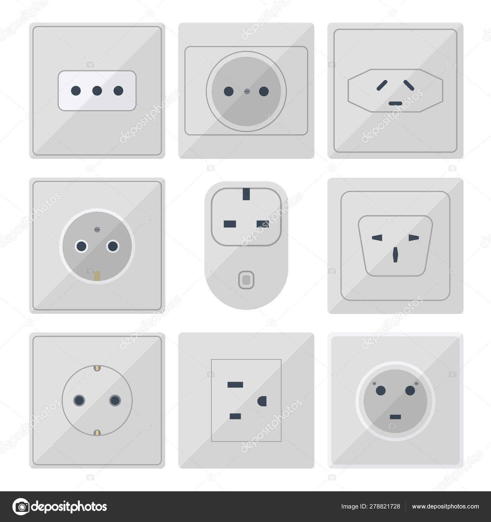 Electric Plugs Stack Outlet Illustration Energy Socket