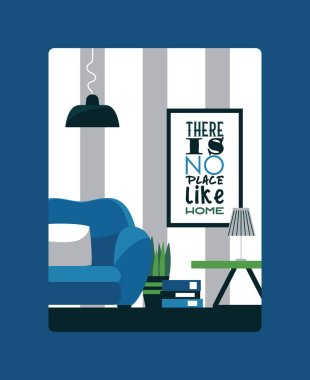 Interior design inspirational poster, vector illustration. Card with quote there is no place like home. Picture for living room interior, wall poster in flat style. Furniture store flyer design.