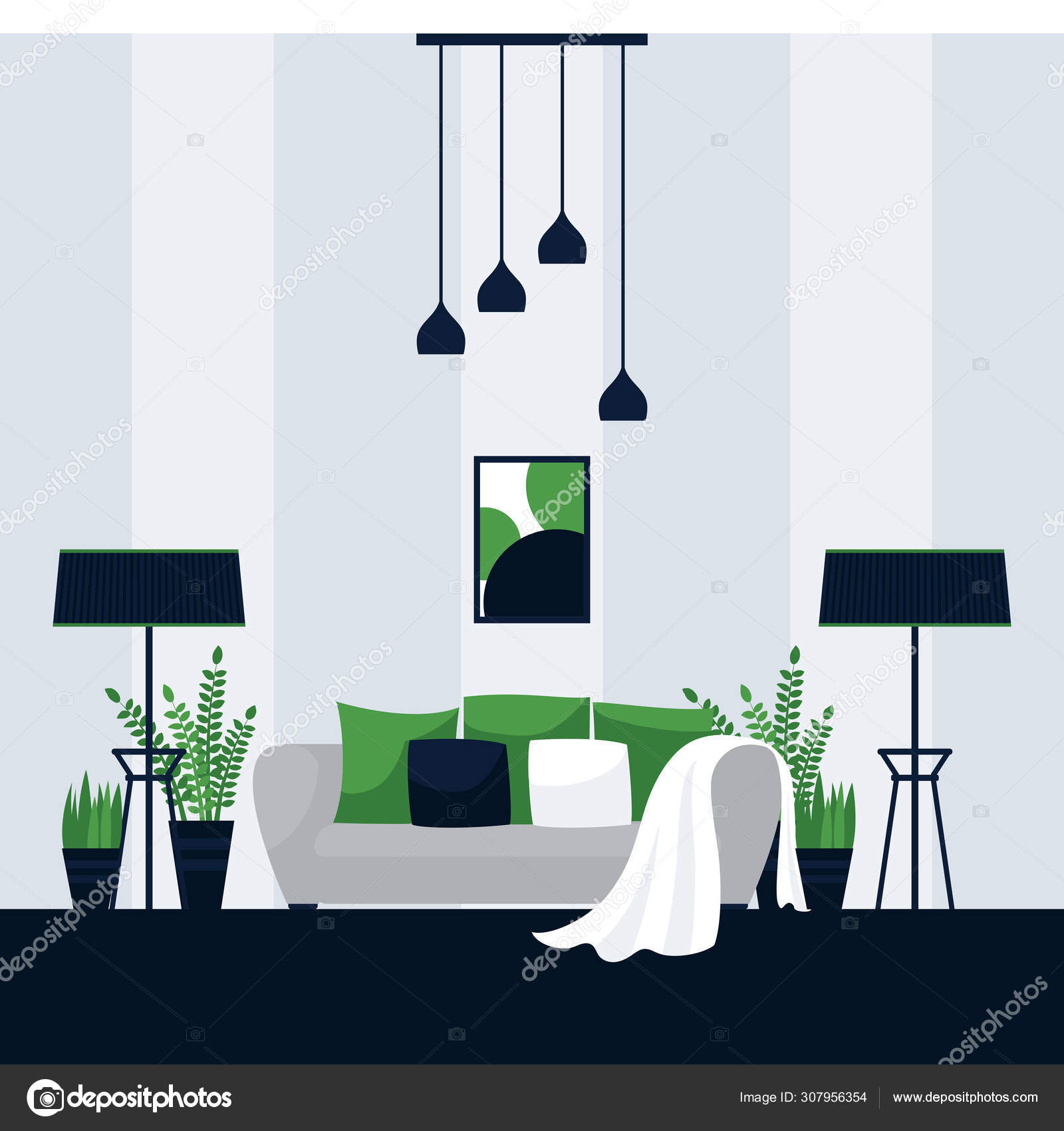 Interior Design Of A Living Room Vector Illustration In Flat Style Modern Decoration Of Cozy Apartment Creative Concept For Comfortable Lifestyle In Urban Interior Stock Vector C Adekvat 307956354