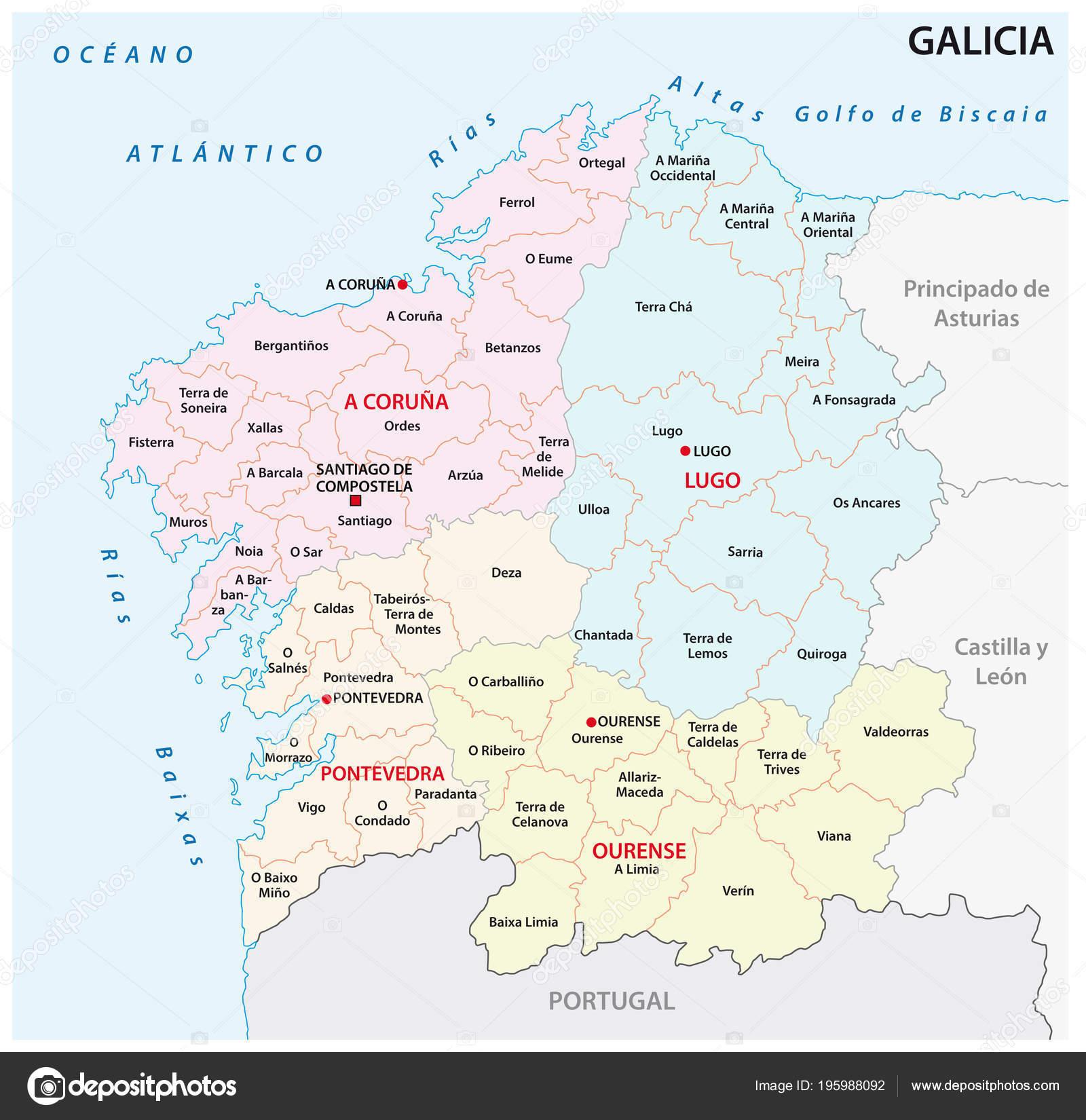 Galicia Administrative Political Vector Map Spain Stock Vector