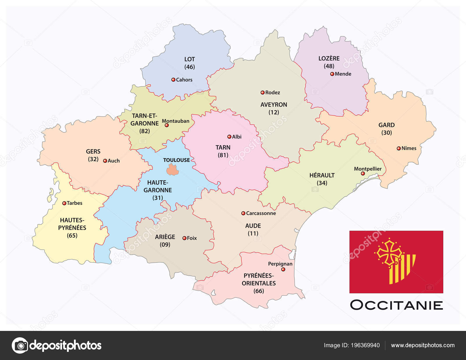 carte de la région occitanie Administrative Political Vector Map Occitanie Region Flag France
