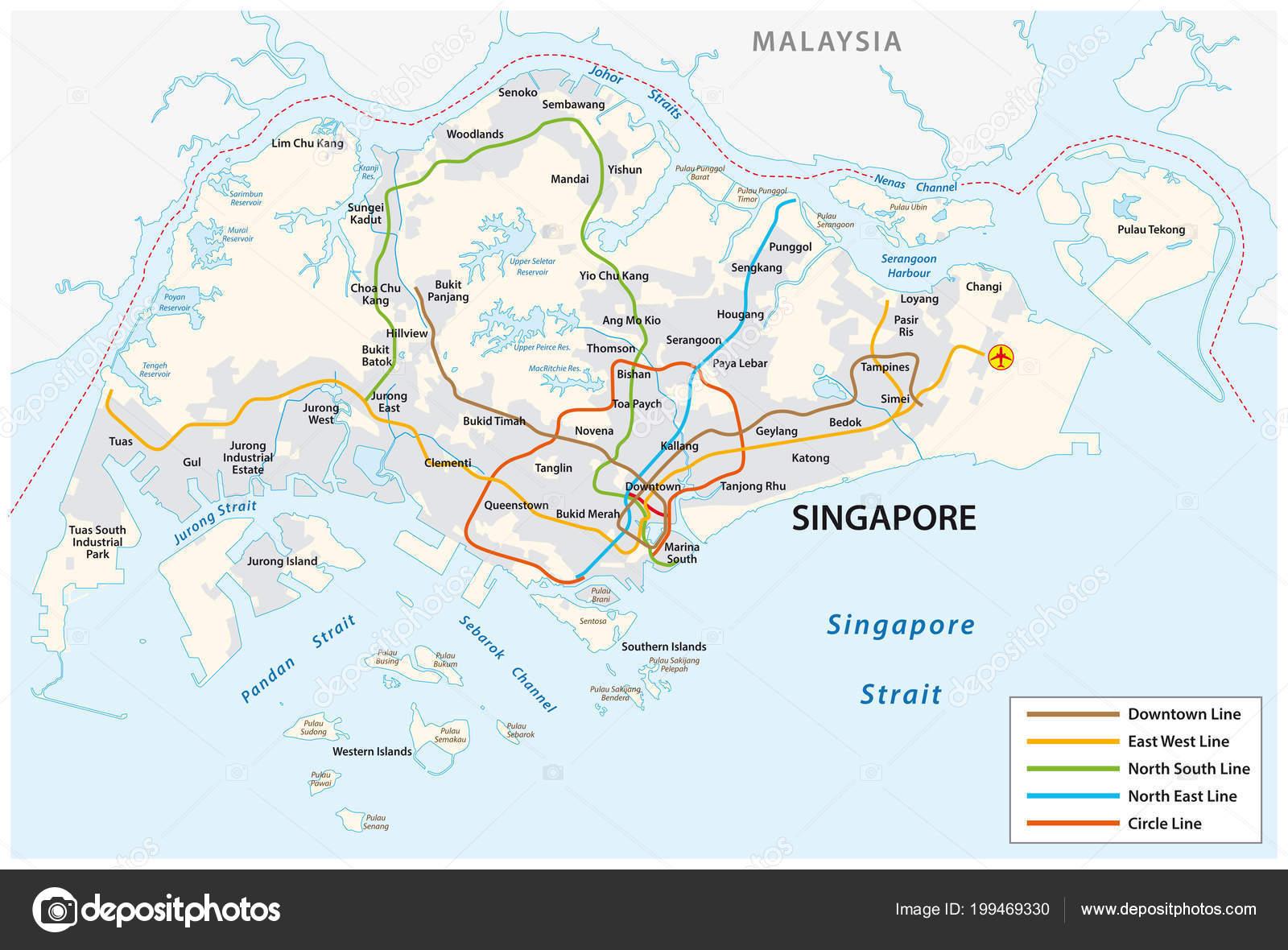Republic Singapore Vector Metro Map Stock Vector C Lesniewski