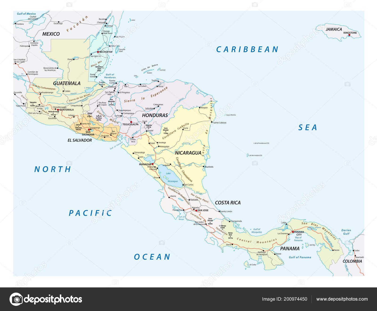 Cartina Fisica Dell America Centrale.Mappa Stradale Vettore Degli Stati Dell America Centrale