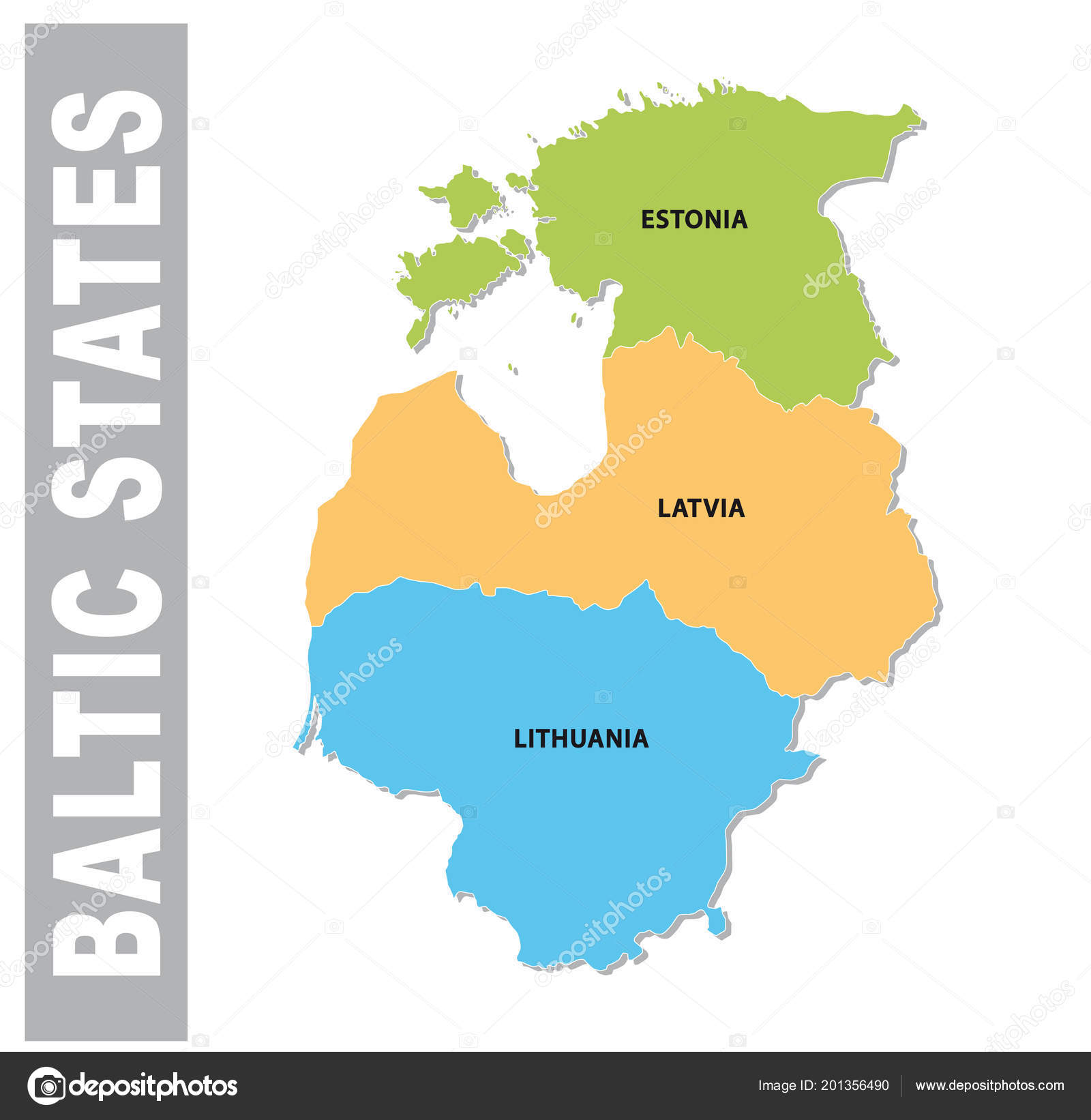 Colorful Baltic States Administrative Political Vector Map — Stock ...
