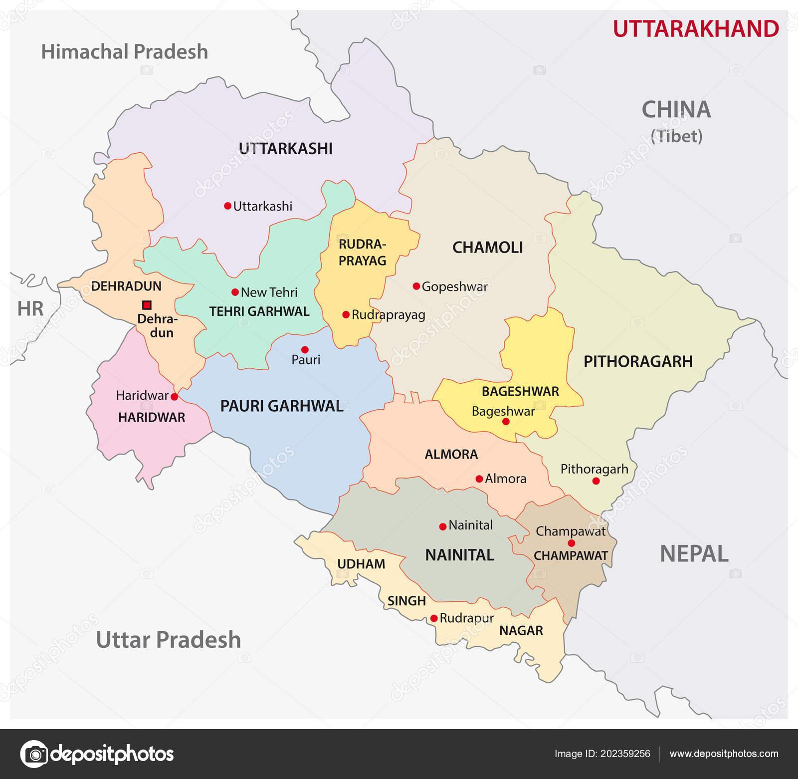Uttarakhand Administrative Political District Vector Map ...