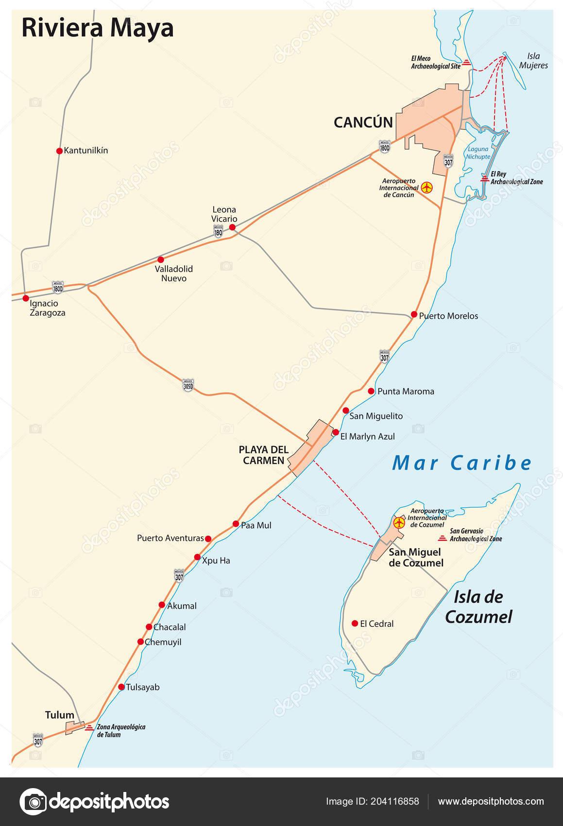Riviera Maya Road Vector Map Quintana Roo Mexico — Stock Vector ...