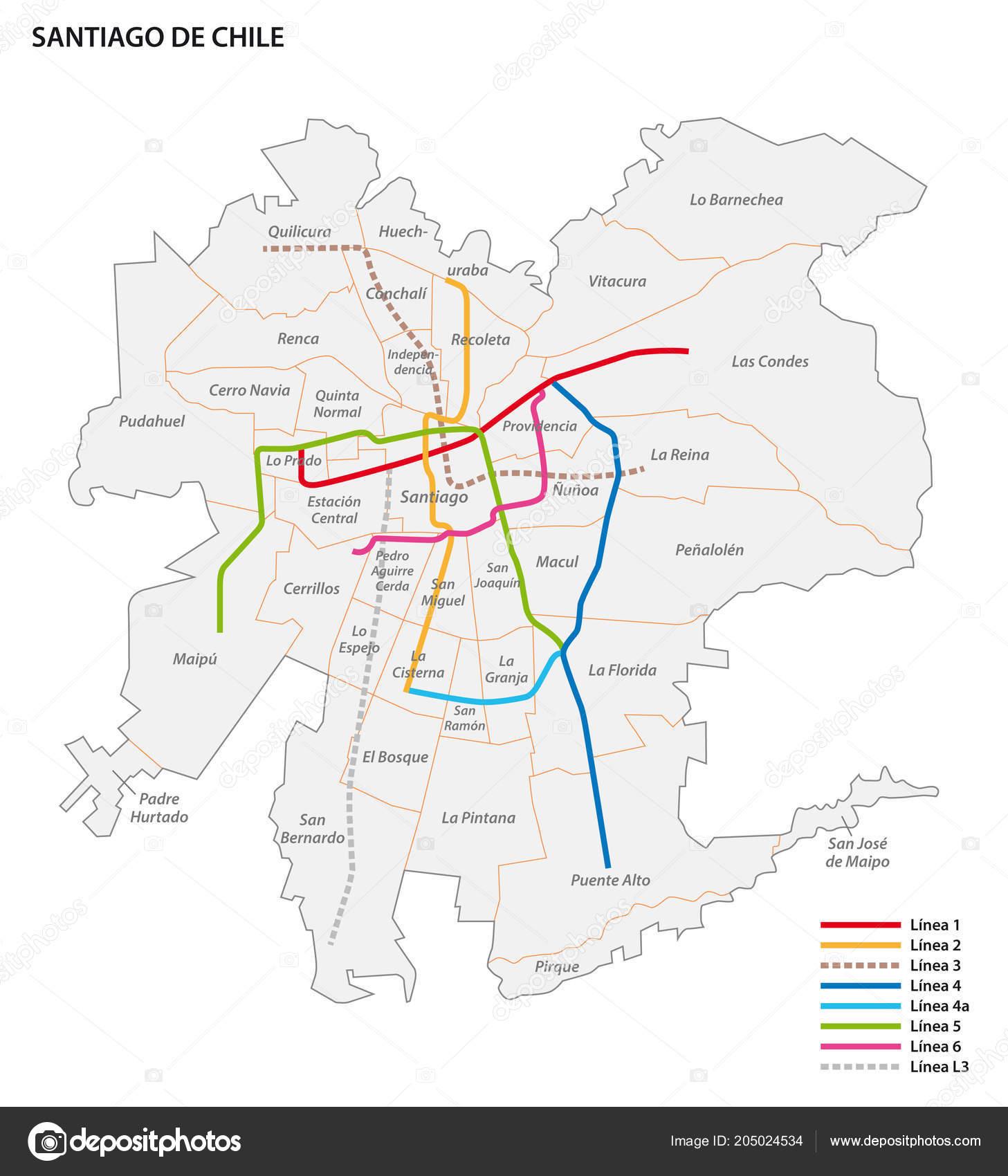 Santiago Subway Map.Metro Santiago Vector Map Stock Vector C Lesniewski 205024534