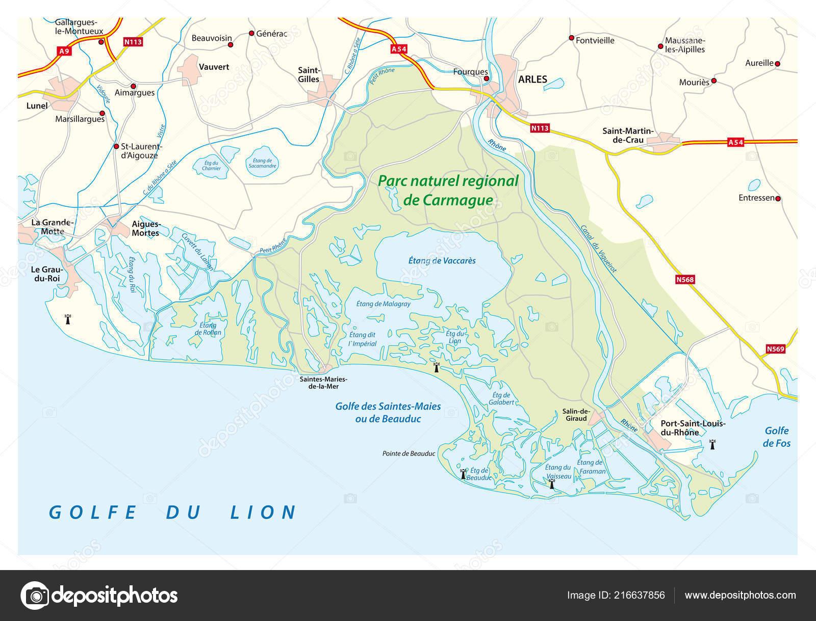 La Camarga Francesa Mapa.Mapa Del Sur Del Parque Frances Natural Camarga Francia