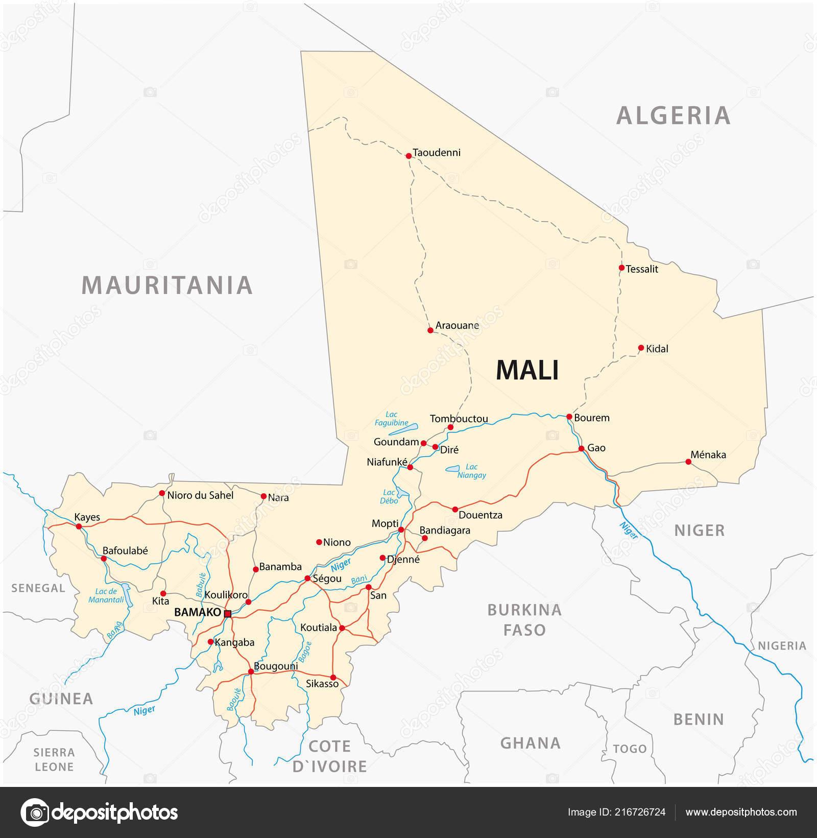 Picture of: Vector Street Map Republic Mali Stock Vector C Lesniewski 216726724