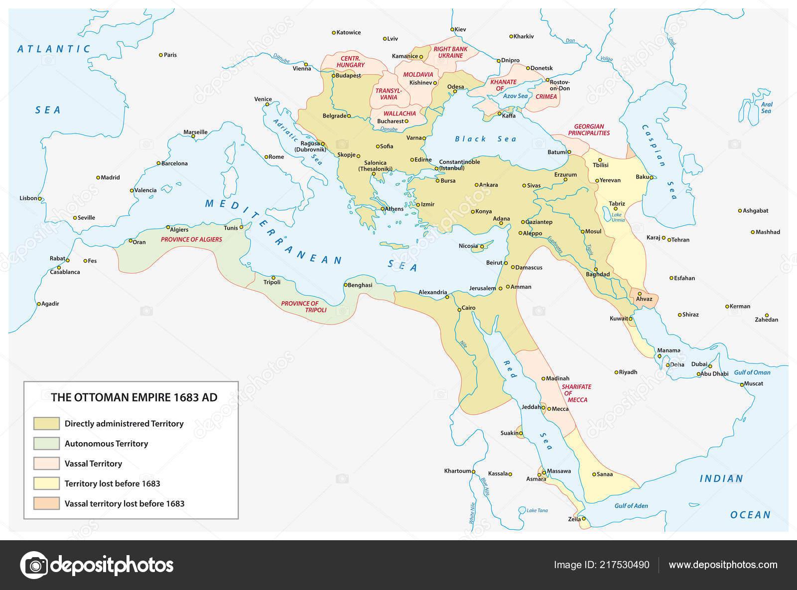 Carte Empire Ottoman Epoque Grande Expansion Fin Xviie Siecle