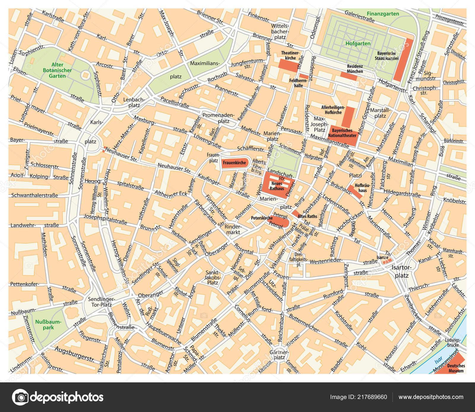 Vector City Street Map Munich Germany — Stock Vector © Lesniewski ...