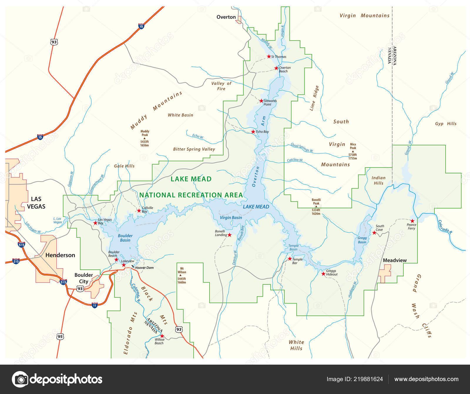 Map Of Nevada And Arizona.Lake Mead Vector Map Nevada Arizona United States Stock Vector