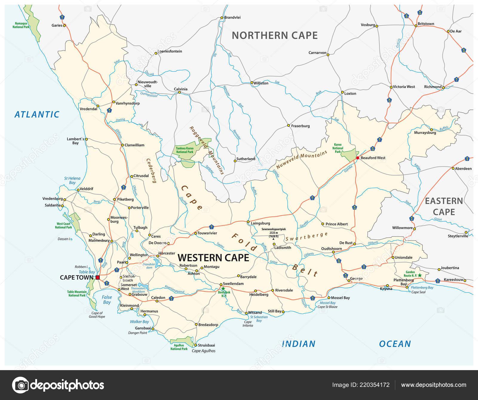 100% de haute qualité gros en ligne prix le plus bas South Africa Western Cape Province Road National Park Vector ...