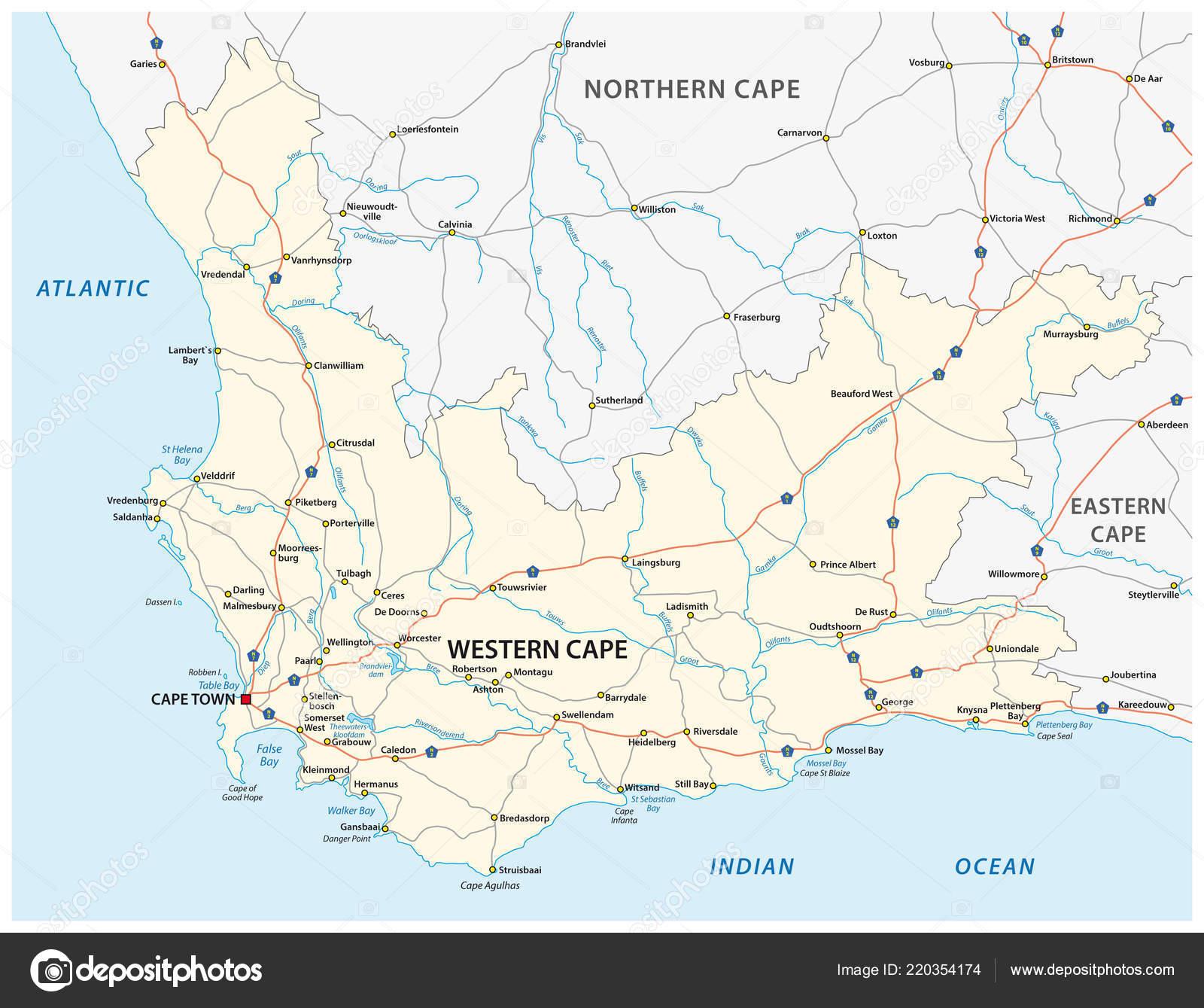 Carte Afrique Du Sud Ouest.Afrique Sud Ouest Cap Carte Vecteur Routiere Image Vectorielle