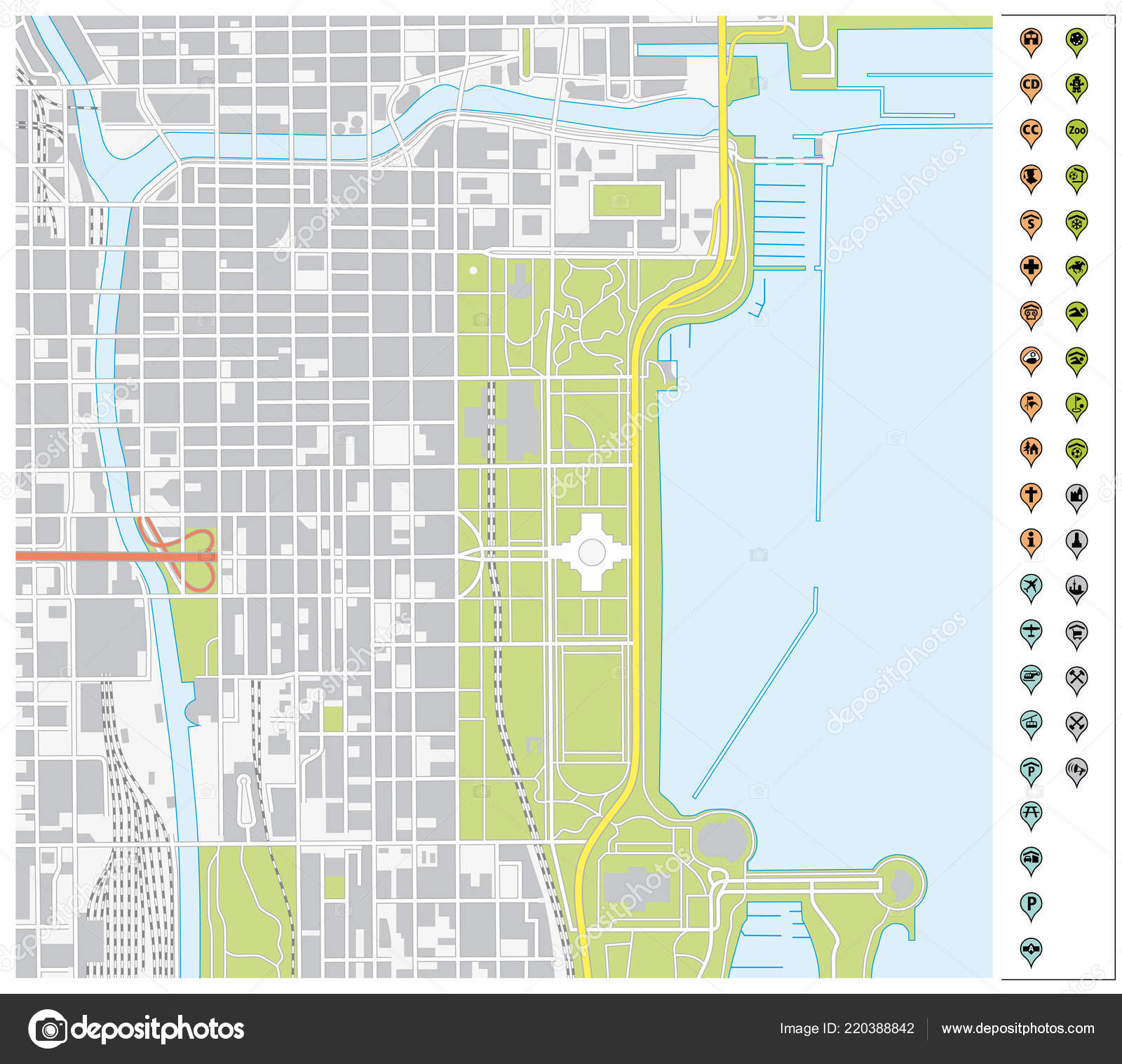 Vector Street Map Downtown Chicago Pin Pointers Infrastructure Icons on