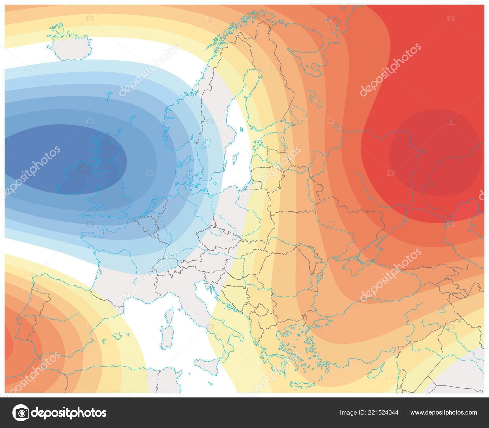 Mapa De Isobaras Europa.Imagen Tiempo Meteorologico Imaginario Del Mapa