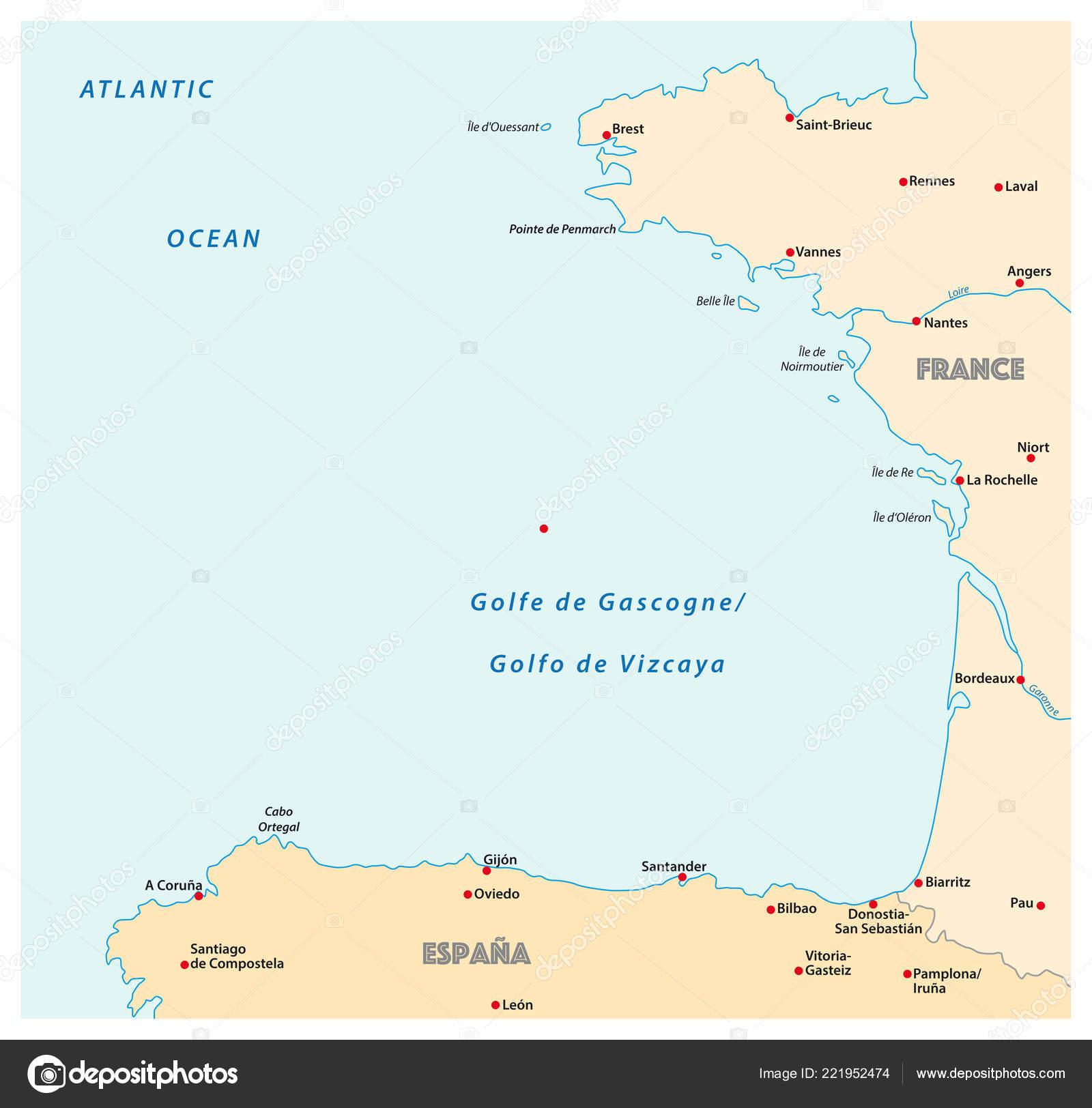 Golfo De Vizcaya Mapa.Bahia Vizcaya Mapa Vector Francia Espana Archivo Imagenes