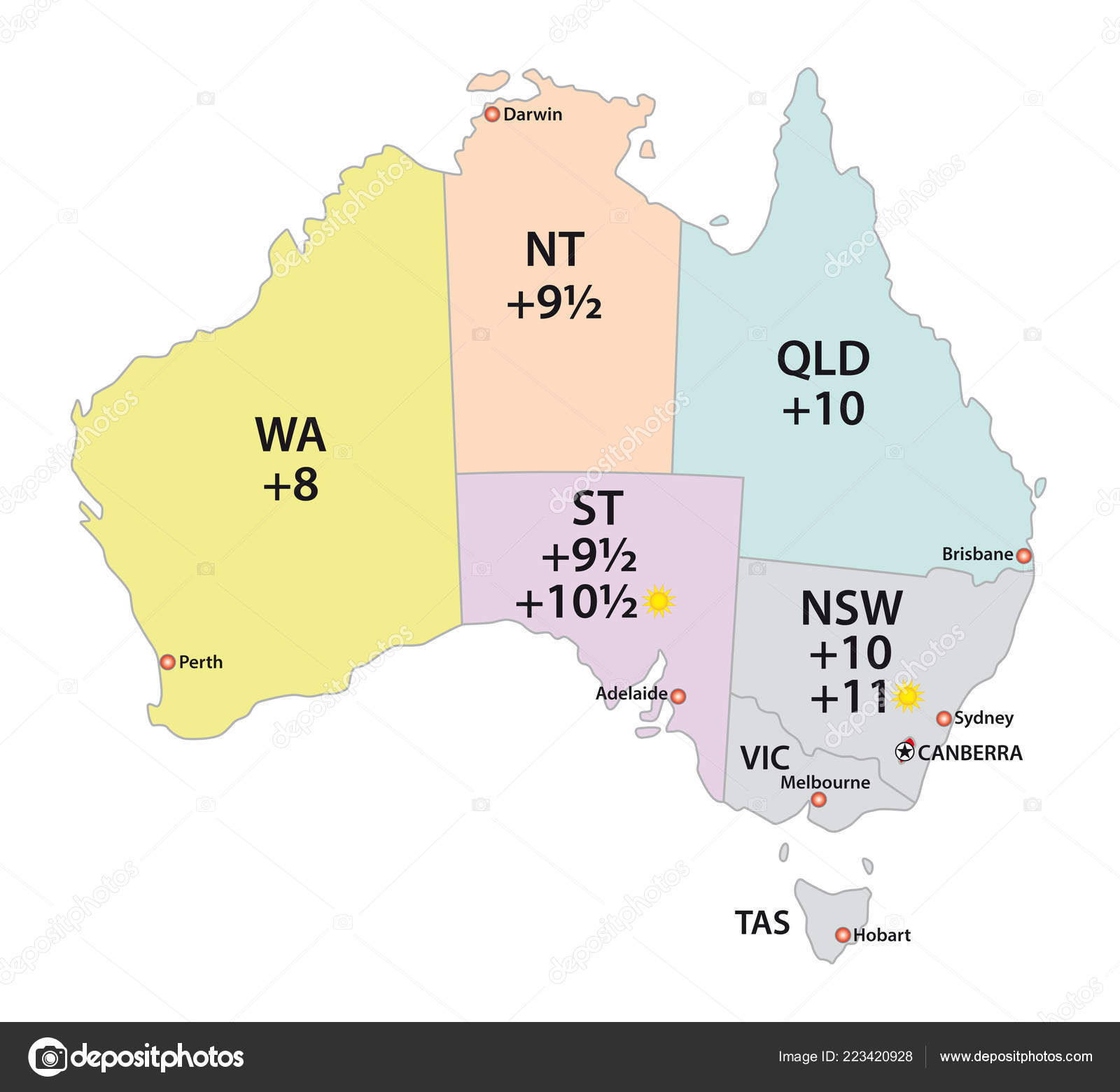Australia Map Time Zones.Australia Uses Three Main Time Zones Vector Map Stock Vector