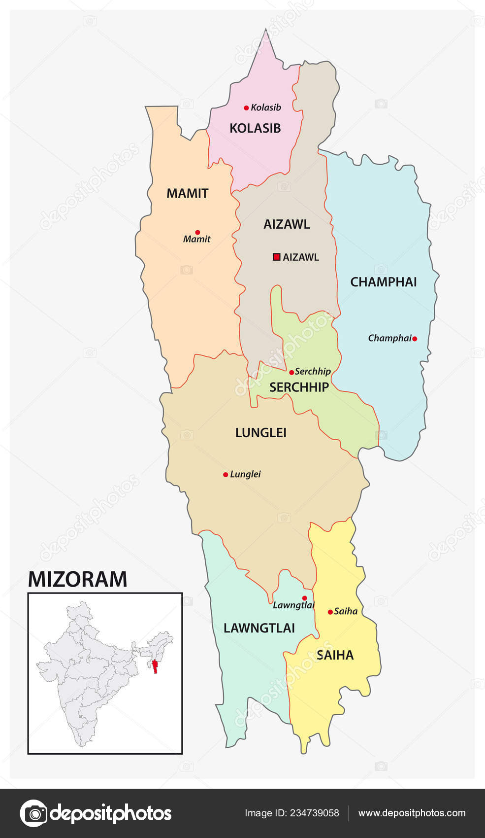Administrative Political Map Indian State Mizoram India ... on india city map, india clear map, india floral designs, india boundary map, india landscape map, india wall map, india world heritage sites map, india base map, india solid map, india and pakistan border dispute, india caste system map, india green map, india henna map, india bangladesh border, india london map, bangladesh map, india travel map, india watershed map, india border art, india center map,