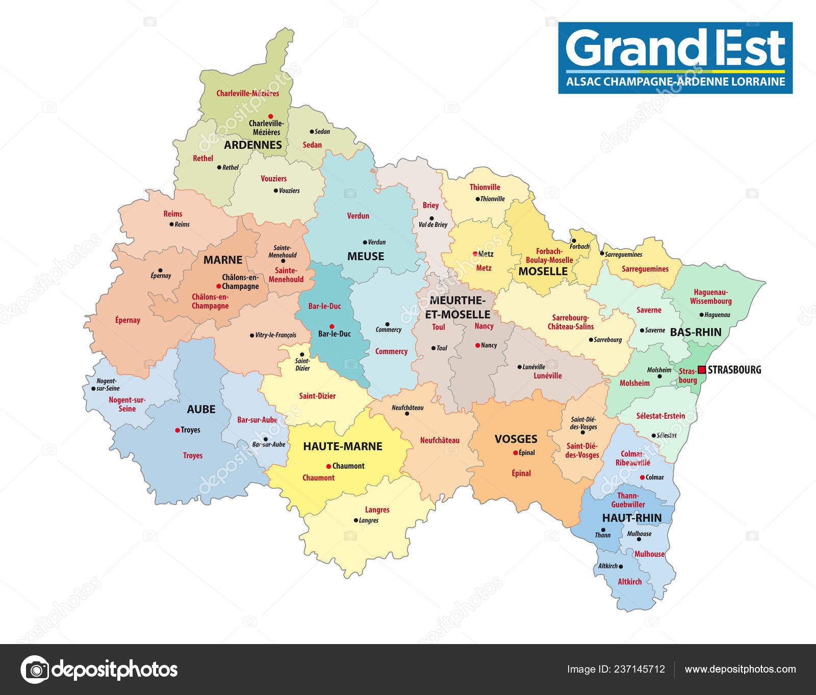 Administrative Map New French Region Grand Est Logo Stock Vector